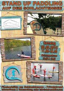 Plakat Steh-Paddeln auf dem Schlachtensee mit der Fischerhütte