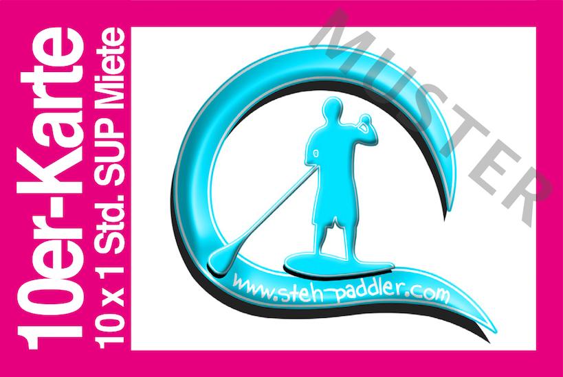 10er-Mehrfachkarte SUP Verleih Steh-Paddler.com Stand Up Paddling Berlin
