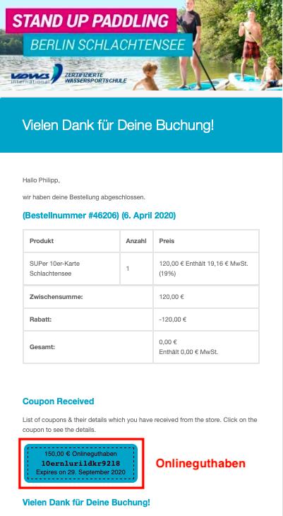Stehpaddler SUP Verleih Berlin Schlachtensee Bestellbestätigungsemail 10er Karte
