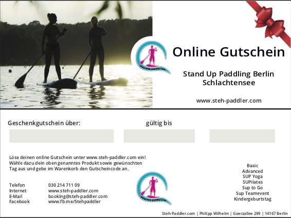 Stand Up Paddling Berlin Schlachtensee Geschenkgutschein Vorlage 2019